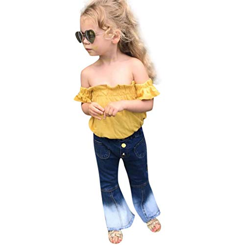 RAINED-Baby Girls Off-Shoulder T-Shirt Top + Long Flare Pants Ruffled Short-Sleeve Outfit Set Denim Pants Yellow