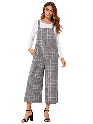 Verdusa Women's Sleeveless Straps Pockets Plaid Culotte Jumpsuit Overalls Grey M