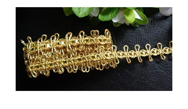 5//8 inch wide gold color price for 1 yard Metallic Loop Braid