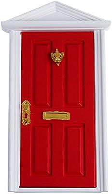 1:12 Dollhouse Miniature External Outward Open Wooden Fairy Front Door Newly