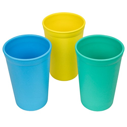 Re-Play Made in The USA 3pk Drinking Cups for Baby and Toddler - Sky Blue, Yellow, Aqua (Surf)