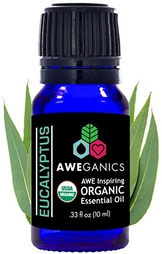 Aweganics Pure Eucalyptus Oil USDA Organic Essential Oils, 100% Pure Natural Premium Therapeutic-Grade, Best Aromatherapy Scented-Oils for Diffuser, Home, Office, Women, Men (10 ML) MSRP $14.99