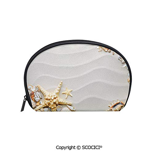 inted Cosmetic Bag Storage Bag Seacoast with Sand Colorful Various Seashells Tropics Aquatic Wildlife Theme Decorative Makeup Bag Toiletry Pouch ()