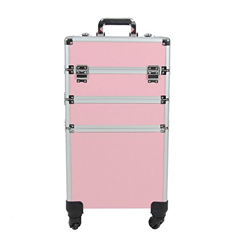 Topwigy Wheeled Cosmetic Train Case 4-Wheel 3 in 1 Professional Multifunction Artist Trolley Rolling Makeup Train Case Cosmetic Organizer Box with 4 Universal Wheels(Pink) by Topwigy