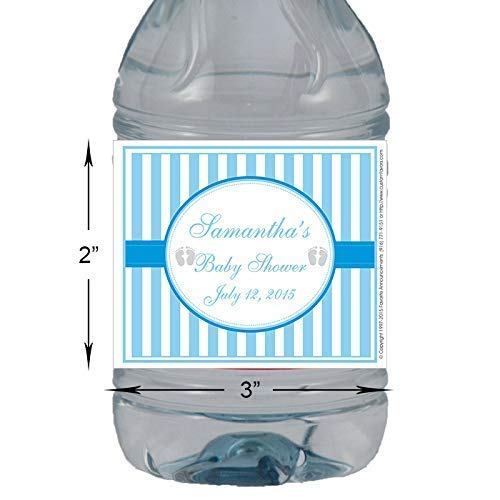 Set of 24 L697 Baby Shower Pink or Blue Stripe Personalized Self Adhesive Labels