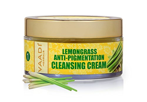 Lemongrass Anti-pigmentation Herbal Facial Cleansing Creams - ALL Natural - Paraben Free - Sulfate Free - Suitable for Both Men and Women - Good for All Skin Types (Oily, Glowing, Dry, Normal, Combination, Sensitive) - 1.8 Ounces - Premium Quality - Vaadi Herbals