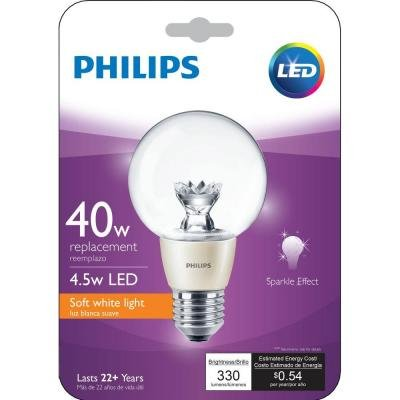 Philips 40W Equivalent Soft White (2700K) G25 Dimmable 454470 LED Clear Globe Light Bulb
