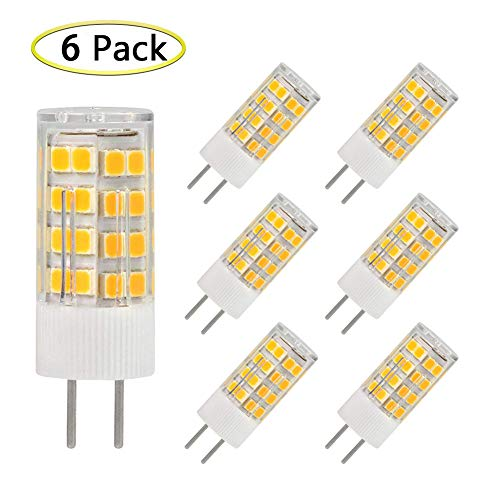 GY6.35 LED Bulb, AC/DC 12 Volt, 5W Equivalent to T4 JC Type 40Watt Incandescent Halogen Bulb Replacement, GY6.35/G6.35 Bi-pin Base, Non-Dimmable Warm White 2700K-3000K Light Lamps(6-Pack)