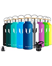 Super Sparrow Stainless Steel Vacuum Insulated Water Bottle - Double Wall Design - Standard Mouth - 350ml & 500ml & 620ml & 750ml & 1000ml - Non-Toxic BPA Free - Ideal as Sports Bottle - 2 Lids