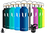 Super Sparrow Stainless Steel Vacuum Insulated Water Bottle, Double Wall Design,Standard Mouth - 500ml & 750ml & 1000ml - BPA Free - with 2 Exchangeable Caps + Bottle Pouch (1000ml-32oz, Dark Blue)
