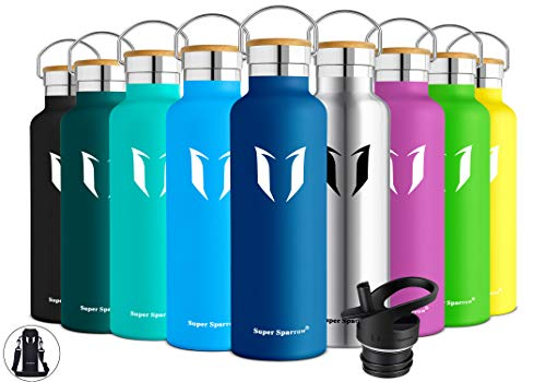 Super Sparrow Stainless Steel Vacuum Insulated Water Bottle, Double Wall Design,Standard Mouth - 500ml & 750ml & 1000ml - BPA Free - with 2 Exchangeable Caps + Bottle Pouch (500ml-17oz, Dark Blue)