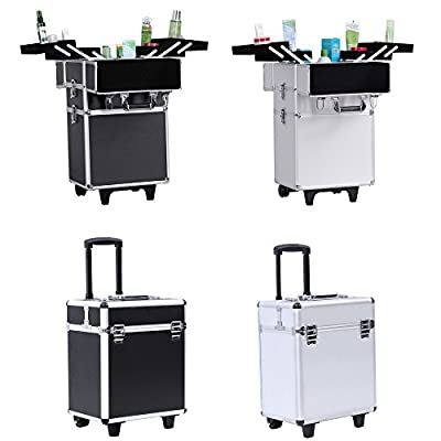 Songmics Aluminium Rolling Makeup Case Beauty Trolley with Lift Handle Cosmetic Organizer Box