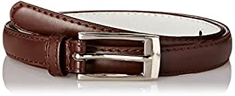 "Solid Color Leather Adjustable Skinny Belt, small (27""-31""), Brown"