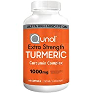 Turmeric Curcumin Softgels, Qunol with Ultra High Absorption 1000mg, Anti-Inflammatory, Dietary Supplement, Extra Strength, 60 Count
