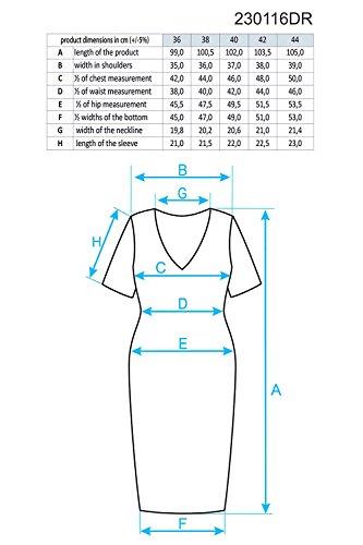 Ennywear 230116 Vestido Mini Clásico Con Encaje Para Mujeres Manga Corta Escote En V - Hecho En La UE gris-ecru