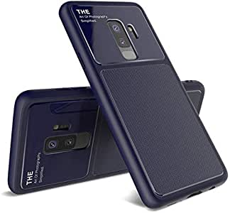 For Samsung Galaxy S9+ Plus Shock-Absorbtion TPU + Glass Cover Protective Anti-Scratch Back Case-Blue
