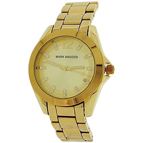 Mark Maddox Ladies Goldtone & Rhinestone Set Dial Bracelet Strap Watch MM3018-25