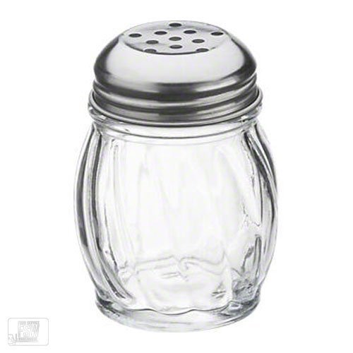 Royal Industries Swirl Shaker, Plastic Base & Stainless Steel Perforated Lid, 6 oz, Clear, 12 Piece, Commercial Grade