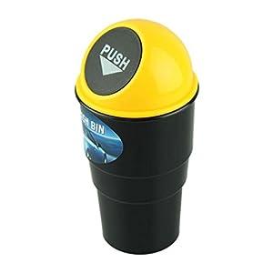 TENSKE Storage Delicate Car garbage can vehicle Trash Can Garbage Dust Case Holder Bin Hot Selling (Yellow)