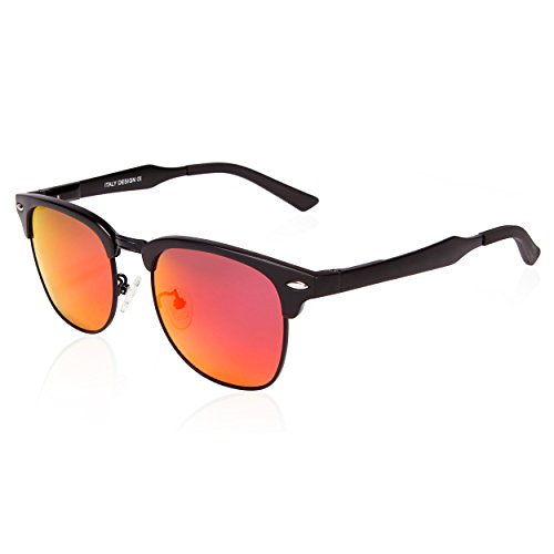 SUNGAIT Classic Half Frame Clubmaster Sunglasses with Polarized Lens Black Frame Red Lens