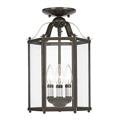 Sea Gull Lighting 5231-782 Bretton Three-Light Semi-Flush Convertible Pendant with Clear Glass Panels, Heirloom Bronze Finish (Renewed) ()