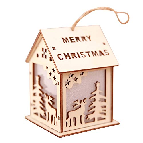Balai Mini LED Light Hanging Ornaments for Christmas Cute Wood House Tree Decoration Luminous Cabins Pendants Glowing Chalet for Desktop Hotel Bar Gifts Outdoor and Indoor Decors Living Room (Elk) (Mini Lanterns Luminous)