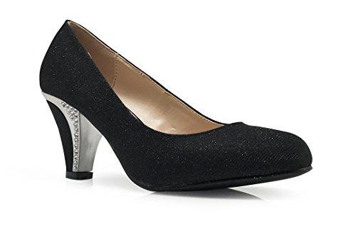 Enzo Romeo Kinmi29 Para Mujer Clásico Elegante Tacones Medianos Bombas De Punta Redonda Rhinestone Wedding Party Plataforma Cuña Zapatos Negro