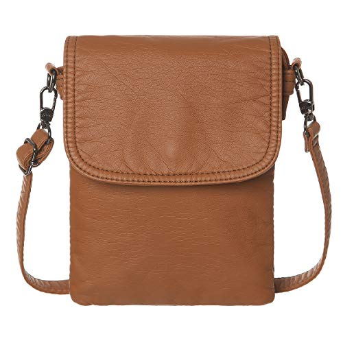 AOCINA Mini Crossbody Cell Phone Purse Credit Card Slots Small Crossbody Bag for Women (Light Brown) ()