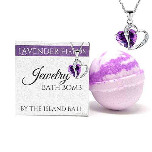 - Jewelry Bath Bomb with Heart Necklace - XL- Made in USA (Lavender)