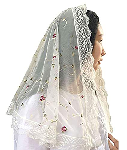 Therese Little Flower Lace Mantilla Chapel Veil Mantilla Shawl Wrap Y018 (Ivory)