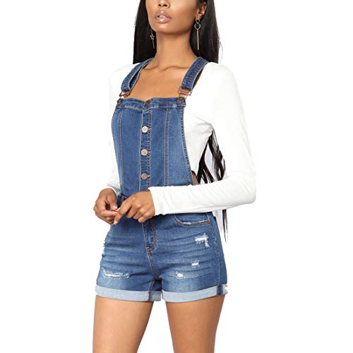 Weigou Women Denim Shorts Rolled Cuffs Adjustable Strap Front Button Ripped Junior Bib Jeans Overall Shorts (Blue, M)