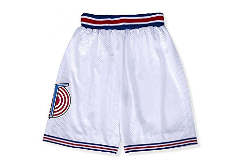 Mens Basketball Shorts Moive Costume 90S Space Jam Pants (White, Small)