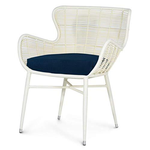 Kathy Kuo Home Palecek Palermo Modern Classic Cream Outdoor Chair - Navy (Dining Wicker Palecek Chairs)
