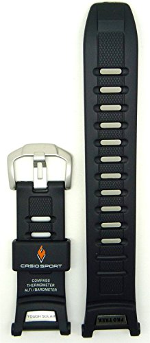 Genuine Casio Sport Protrek Tough Solar Black Resin 25.5/16mm Watch Strap (Casio Paw1500 1v)