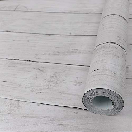 Abyssaly White Gray Wood Paper 17.71 in X 118 in Self-Adhesive Removable Wood Peel and Stick Wallpaper Decorative Wall Covering Vintage Wood Panel Interior Film Leave No Trace Surfaces Easy to Clean
