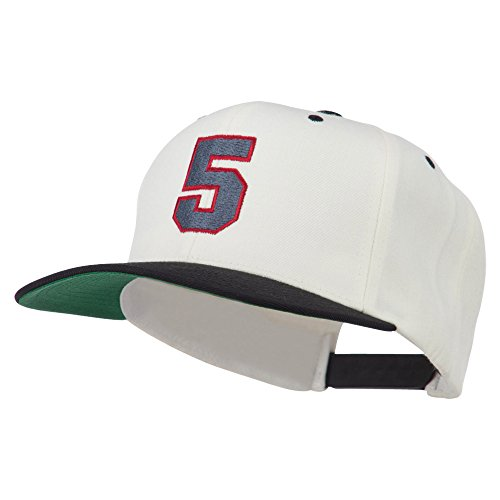 (Athletic Number 5 Embroidered Classic Two Tone Cap - Natural Black OSFM)