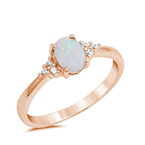 White Rose Ring (925 Sterling Silver Oval Cut Created White Opal Ring Rose Tone Rhodium Plated Round Clear CZ, Size-8)