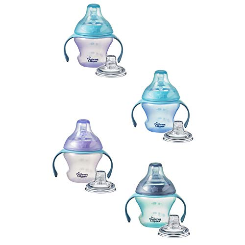 Tommee Tippee First Sips Soft Transition Cup, Gentle on Gums, Spill-Proof, Dishwasher Safe, 4+ Months, 5 Ounces, 1 Count (Colors May Vary)