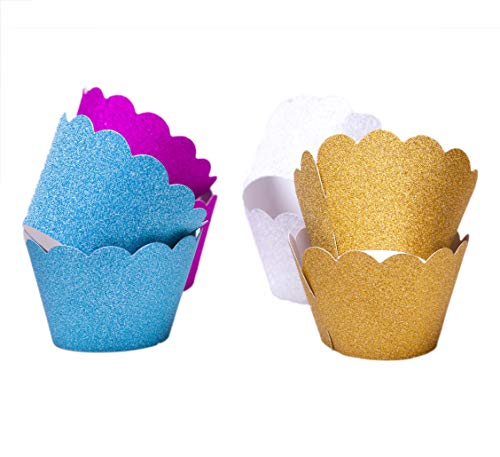 (Astra Gourmet Metallic Glitter Cupcake Wrappers/Liners Standard Size for Wedding Parties Pack of 48(Gold/Silver/Blue/Red))