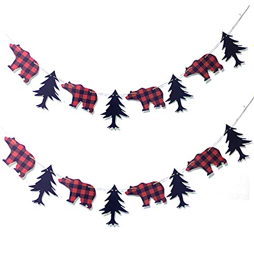 Lumberjack Baby Shower Birthday Party Banner Buffalo Timber Plaid Party Decoration -Pack of 2
