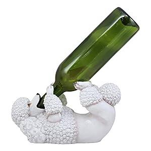 Ebros Lifelike Purebreed Pedigree Canine Adorable White French Poodle Dog Wine Bottle Holder Figurine Statue As Kitchen Wine Cellar Centerpiece Decor Storage Organizer Puppies Pet Dogs Sculpture 2