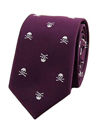 - MENDENG Blue Purple Skull Crossbones Necktie Skeleton Halloween Funny Party Tie