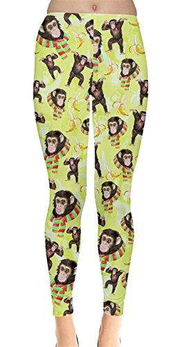 CowCow Womens Yellow Monkey Colorful Animals Pattern Leggings, Yellow - L