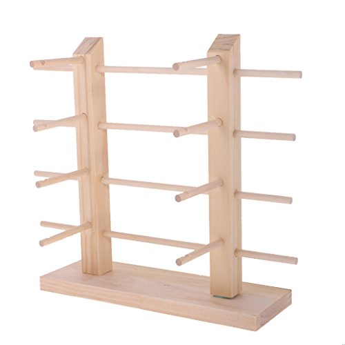 MagiDeal Natural 2-Row DIY Demountable Wood Sunglasses Display Stand Shelf Rack Glasses Frame Organizer 3/4/5 Layers - 4 - Sunglasses Diy Rack