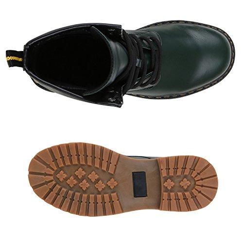 Stiefelparadies Herren Worker Boots Stiefeletten Leder-Optik Camouflage Stiefel Army Look Schuhe Profilsohle Schnürschuhe Flandell Dunkelgrün
