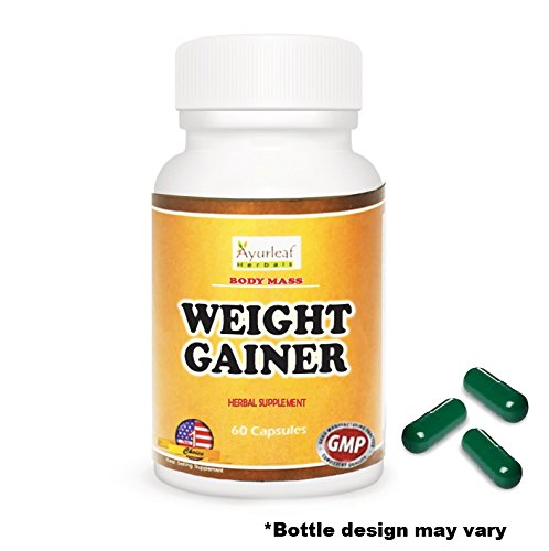 Ayurleaf Weight Gainer - Weight Gain Formula Men or Women. Gain weight pills (60) tablets. Appetite Enhancer. Fast Weight Gainer. Skinny people gain curves or body mass. (1) Bottle