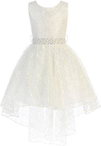 Big Girl High Low Floral Lace Rhinestones Pearl Belt Easter Pageant Flower Girl Dress Ivory 8 ()