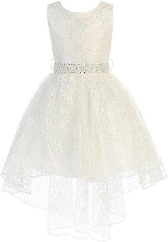 (Big Girl High Low Floral Lace Rhinestones Pearl Belt Easter Pageant Flower Girl Dress Ivory 8 JK3744 )