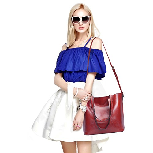 Bag Purse Cross S Bag Handbag Red Top Wine Tote Messenger ZONE Body Leather Shoulder Handle Women HTwqOnHYW7