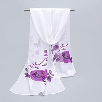 YAN Pañuelos de Mujer LadyS Scarves 2018 Fashion Thin Chal Dual Use Long Section Gasa Flores